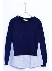 Navy Blue - Girls` Pullover