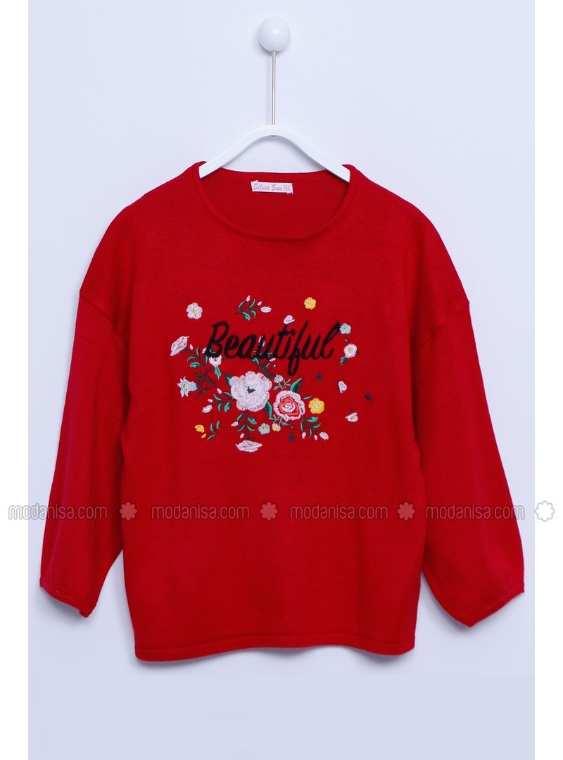 Red - Girls` Pullover