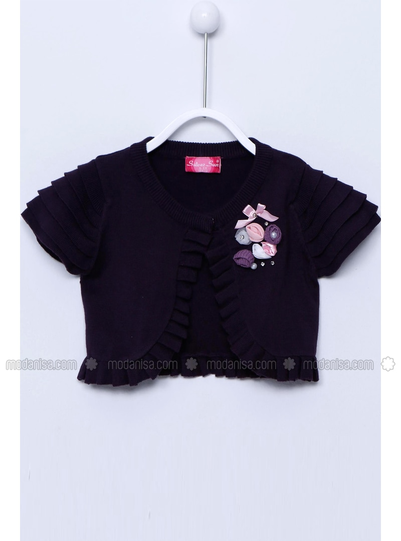 Purple - Girls` Cardigan