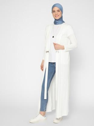 Ecru - Unlined - V neck Collar - Topcoat