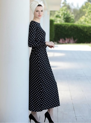 Black - Polka Dot - Crew neck - Unlined - Modest Dress