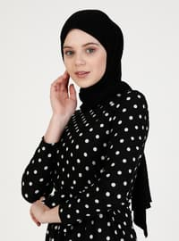 Black - Polka Dot - Crew neck - Unlined - Modest Dress