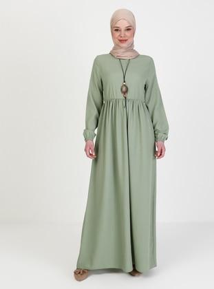 Green Almond - Crew neck - Unlined - Modest Dress
