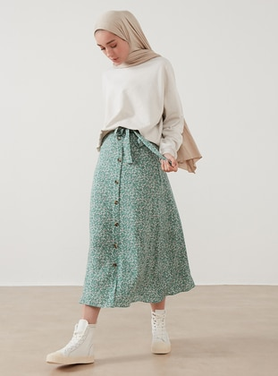 Green - Floral - Unlined - Skirt