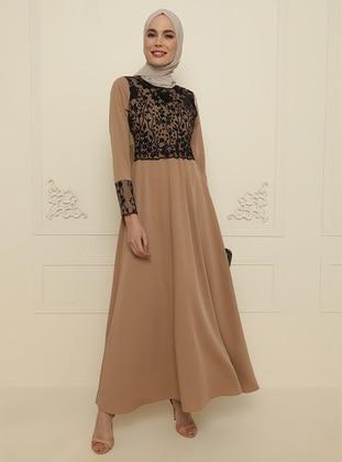 Beige - Unlined - Crew neck - Modest Evening Dress