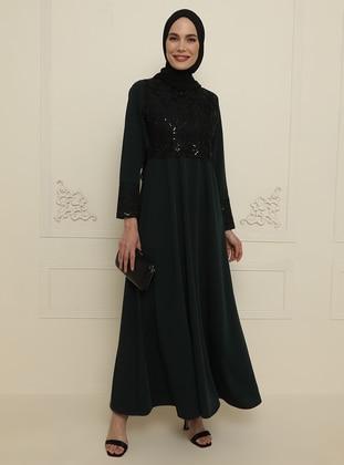 Green - Unlined - Crew neck - Modest Evening Dress