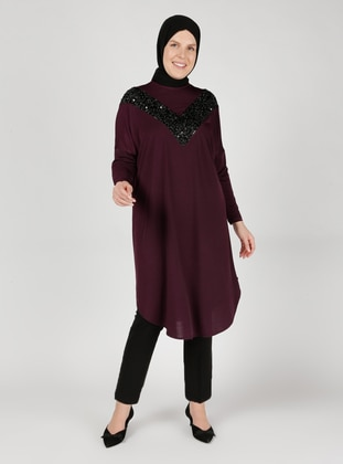 Plum - Crew neck - Plus Size Tunic