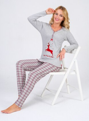 Gray - V neck Collar - Pyjama Set