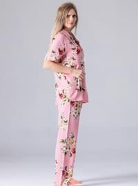 Pink - Point Collar - Floral - Pyjama Set