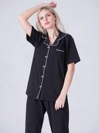 Black - Point Collar - Pyjama Set