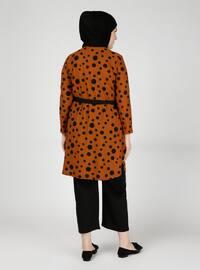 Tan - Multi - Crew neck - Unlined - Plus Size Suit