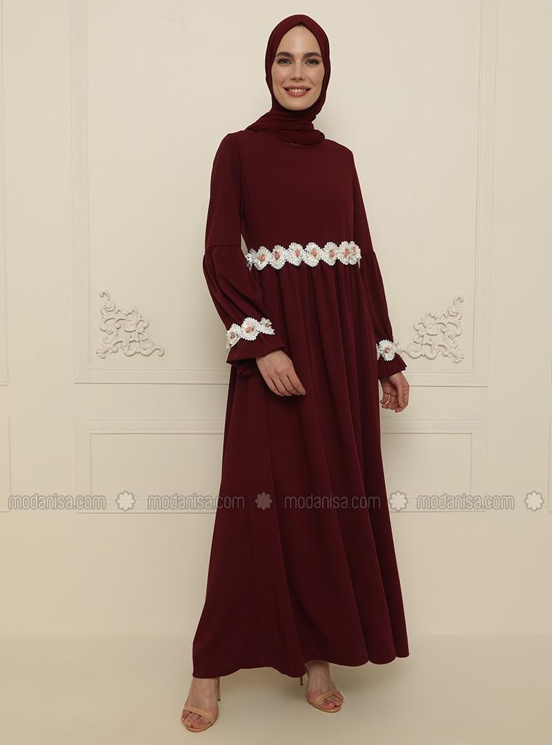 Maroon - Unlined - Crew neck - Modest Evening Dress