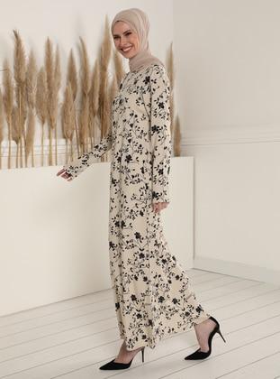 White - Ecru - Floral - Crew neck - Unlined - Modest Dress