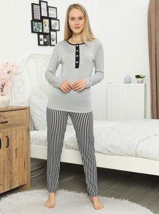 Gray - Crew neck - Pyjama Set
