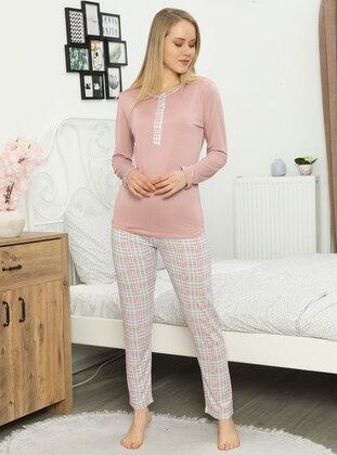 Pink - Crew neck - Pyjama Set