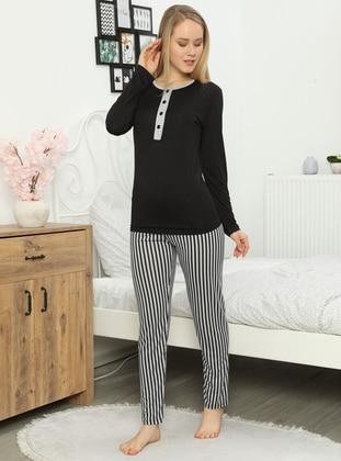 Black - Crew neck - Pyjama Set