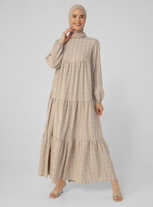 Brown - Crew neck - Unlined - Cotton - Modest Dress
