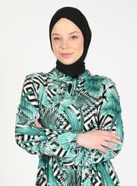 Green Almond - Multi - Crew neck - Unlined - Modest Dress