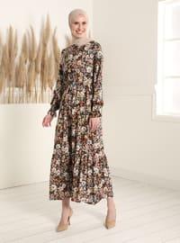 Green Almond - Floral - Crew neck - Modest Dress