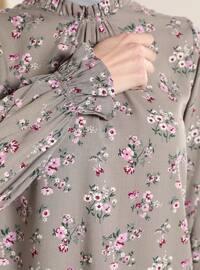 Gray - Floral - Crew neck - Tunic