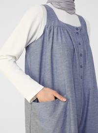 Blue - Unlined - Sweatheart Neckline - Jumpsuit