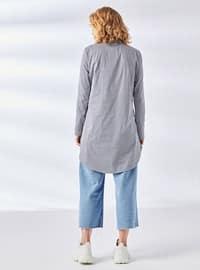White - Ecru - Black - Stripe - Point Collar - Tunic