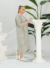 Khaki - Modest Plus Size Evening Dress