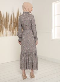 Gray - Floral - Polo neck - Unlined - Modest Dress