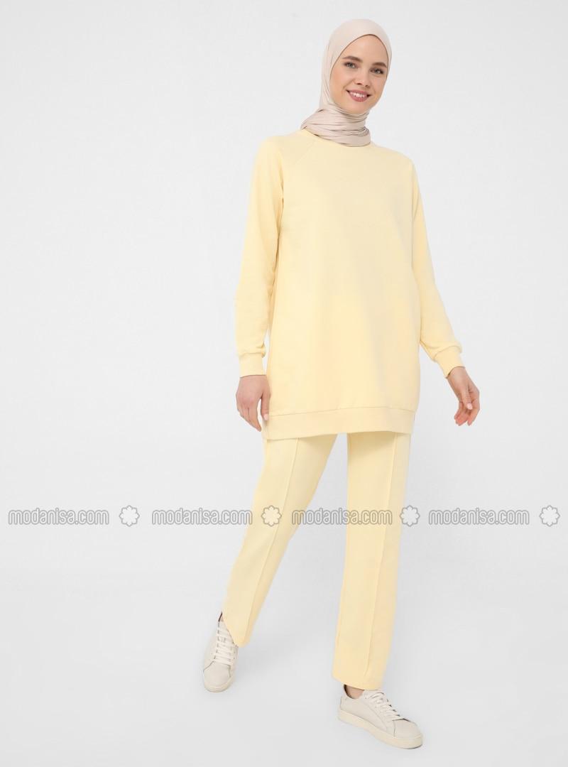 Yellow - Crew neck - Tracksuit Set - Basic