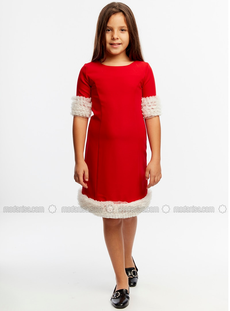 Crew neck - Unlined - Red - Girls` Dress