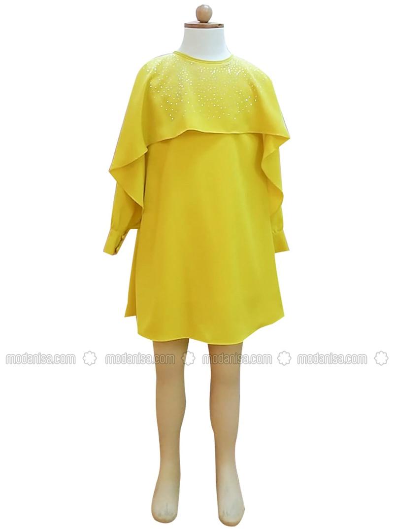 Crew neck - Unlined - Yellow - Girls` Dress