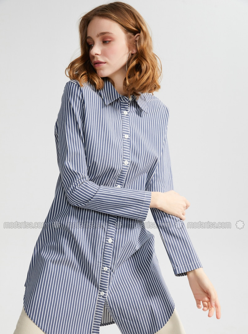 Ecru - Blue - Point Collar - Tunic
