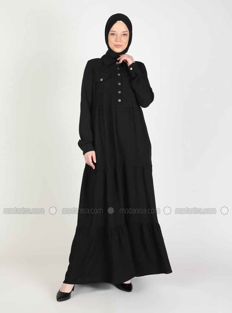 Black - Point Collar - Unlined - Modest Dress
