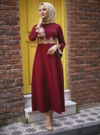 Maroon - Crew neck - Unlined - Modest Dress