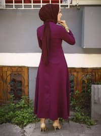 Plum - Crew neck - Unlined - Modest Dress