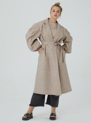 Mink - Unlined - V neck Collar - Trench Coat