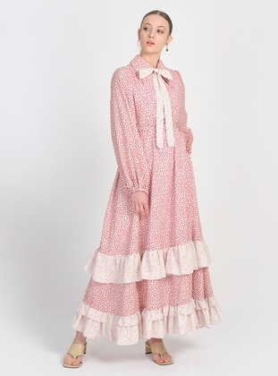 Red - Multi - Point Collar - Fully Lined - Modest Dress