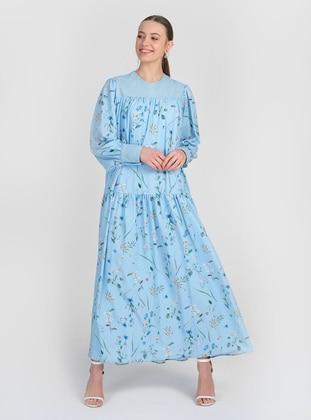 Blue - Multi - Crew neck - Fully Lined - Modest Dress