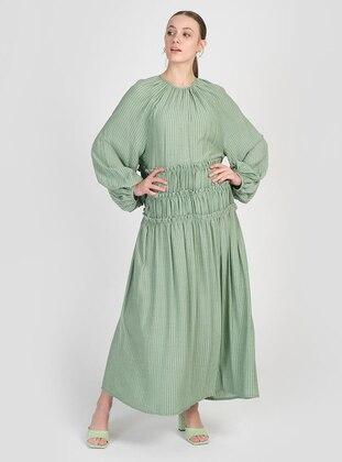 Green - Crew neck - Unlined - Modest Dress