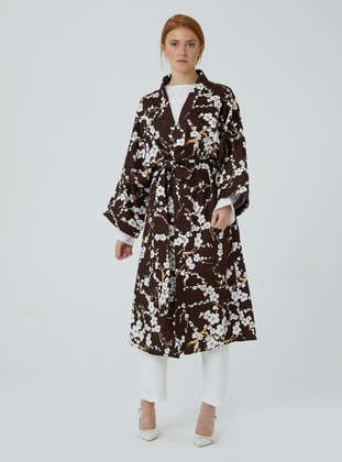 Unlined - Floral - Brown - V neck Collar - Kimono