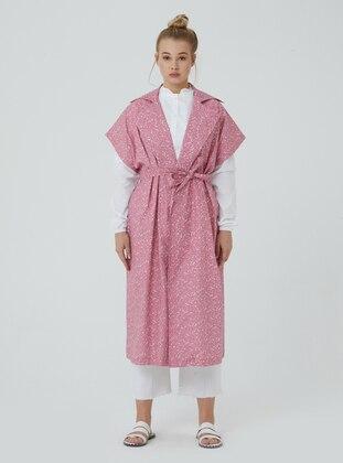 Pink - Floral - Unlined - V neck Collar - Vest