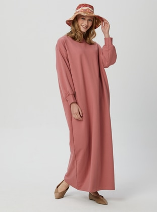 Dusty Rose - Crew neck - Unlined - Modest Dress