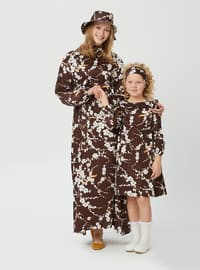 Floral - Multi - Round Collar - Unlined - Brown - Girls` Dress