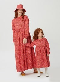 Floral - Round Collar - Unlined - Red - Girls` Dress