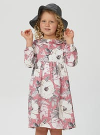 Floral - Round Collar - Unlined - Pink - Girls` Dress