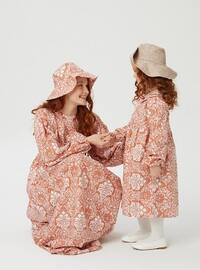 Multi - Round Collar - Unlined - Cinnamon - Girls` Dress