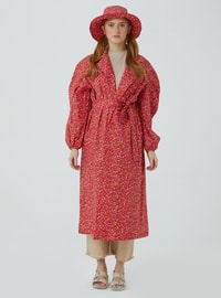 Red - Floral - Unlined - V neck Collar - Trench Coat