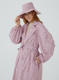 Pink - Floral - Unlined - V neck Collar - Trench Coat