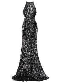 Gray - Black - Fully Lined - Modest Evening Dress