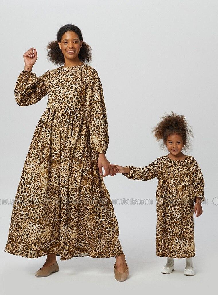 Multi - Leopard - Round Collar - Unlined - Brown - Girls` Dress